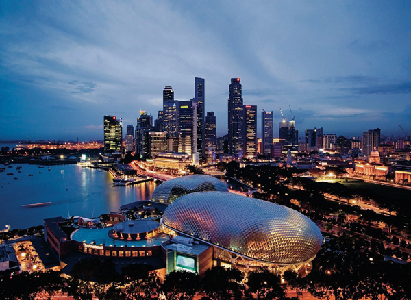 Singapore Skyline with Theatres on the Bay in foreground